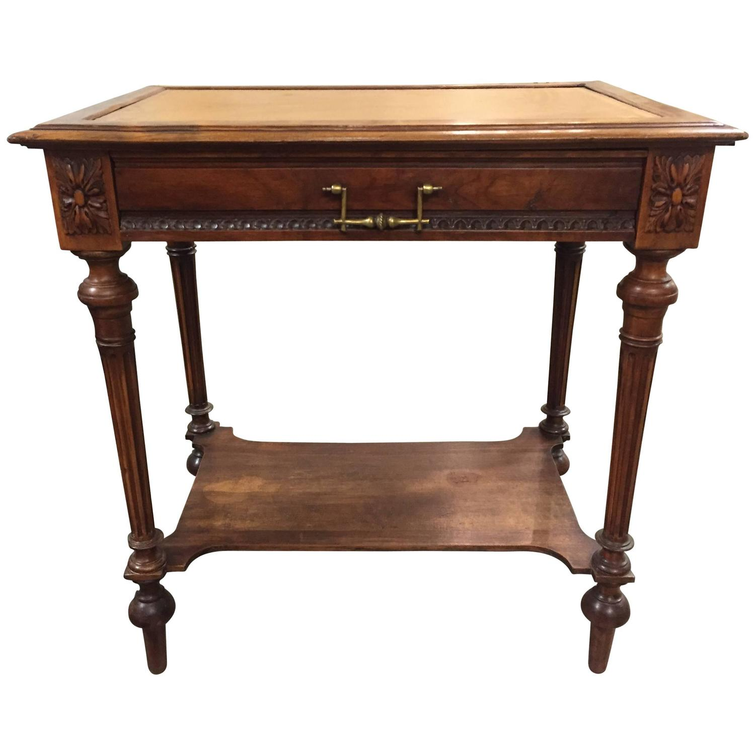 henri ii 19th century french side table or desk with tooled leather and drawer for sale at 1stdibs. Black Bedroom Furniture Sets. Home Design Ideas
