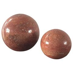 Pair of Polished Red Travertine Balls, Italy, 1970s