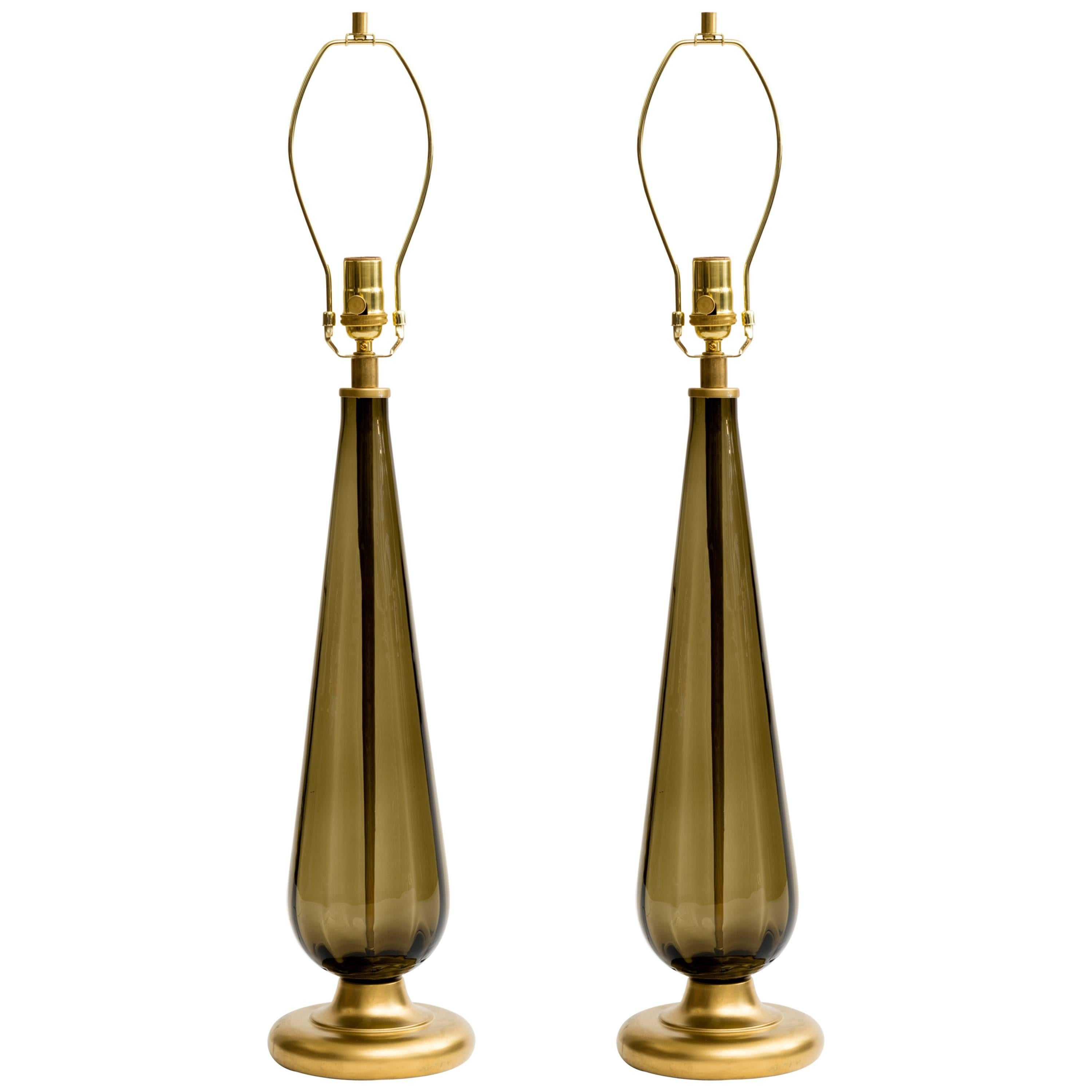 Italian 1970s Smoke Glass and Brass Lamps