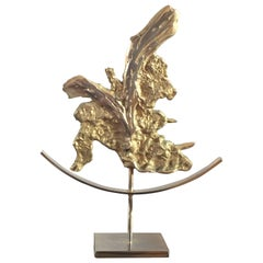 Abstract Brutalist Sculpture in Bronze Philippe Cheverny Attributed France 1970s