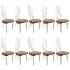 Set of Ten High Back Lucite Dining Chairs