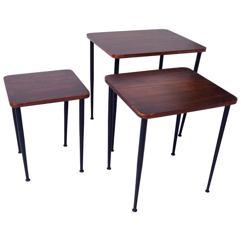 Metal Nesting Tables ~ Teak nesting tables black metal s at stdibs