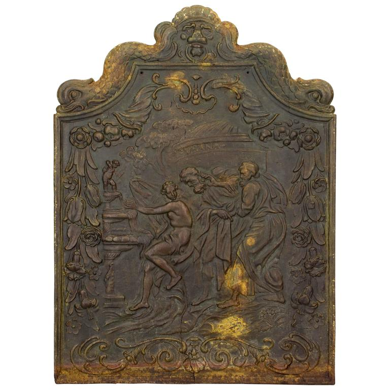18th century french cast iron fireback for sale at 1stdibs for Garden design 18th century