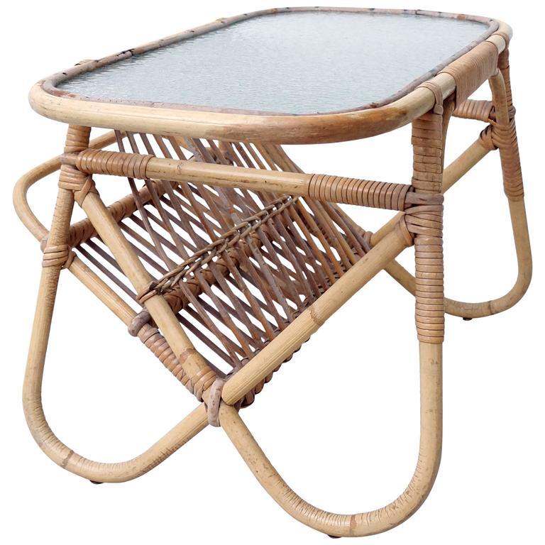 Bamboo Cane Coffee Table: Vintage Rattan Bamboo Glass Coffee Table Magazine Rack