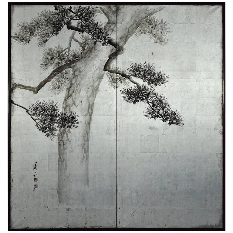 """Japanese Two-Panel Screen """"Pine Tree on Silver"""""""