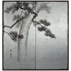 "Japanese Two-Panel Screen ""Pine Tree on Silver"""