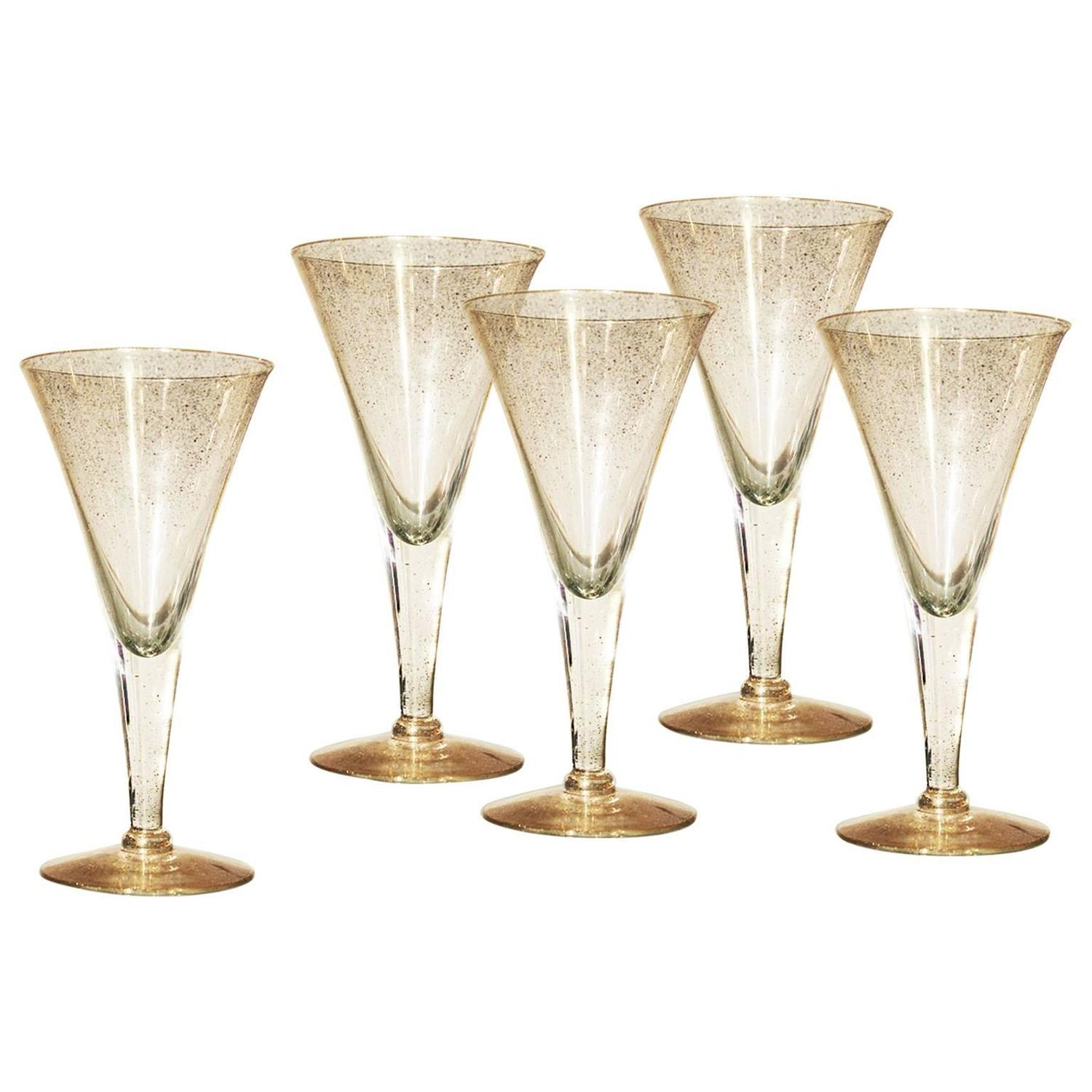 Dorothy c thorpe gold fleck small champagne flutes or wine glasses for sale - Petite flute a champagne ...