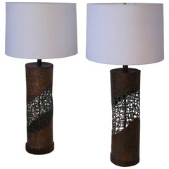 Pair of Fantoni Brutalist Torch Cut Table Lamps for Raymor
