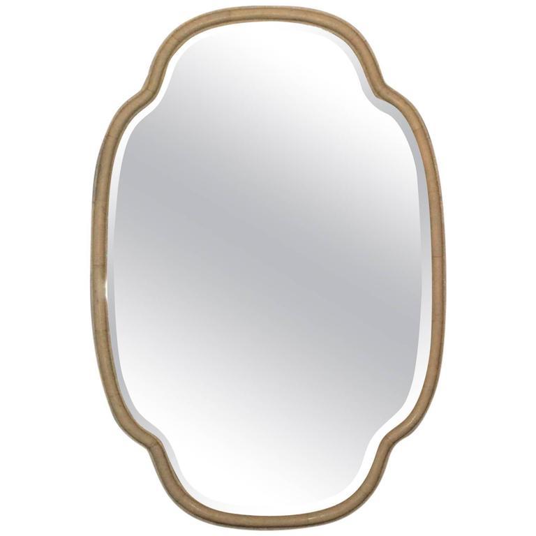 Large elegant shagreen mirror at 1stdibs for Elegant mirrors