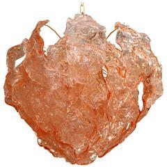 Mazzega Pink Bent Leaves Cake Chandelier