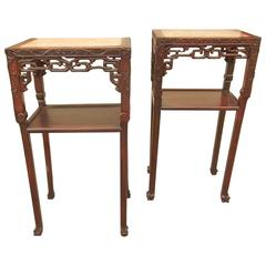 Pair of Oriental Pedestal Stands or Console Side Tables