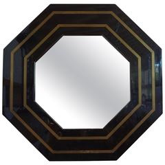 French Octagonal Black Lacquer and Brass Mirror