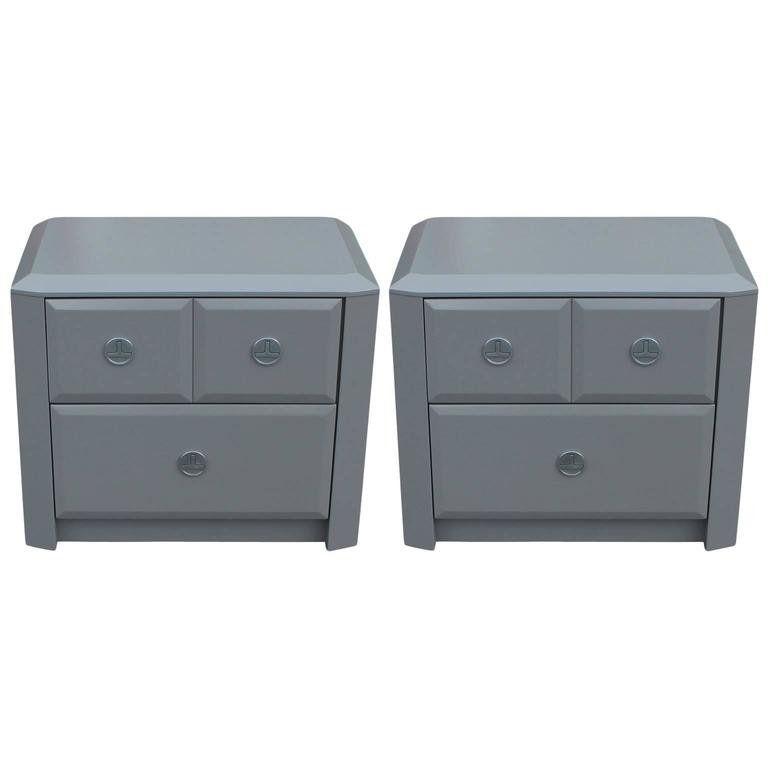 Pair Of Modern Grey Lacquered Gem Cut Two Drawer Nightstands