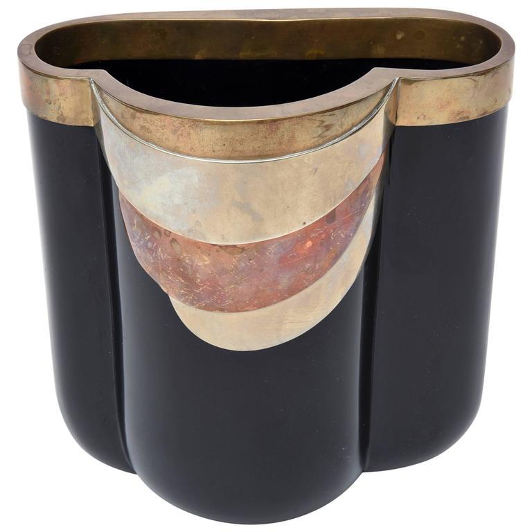 Italian Antonio Pavia Black Glass and Mixed Metals Sculptural Vase /Vessel