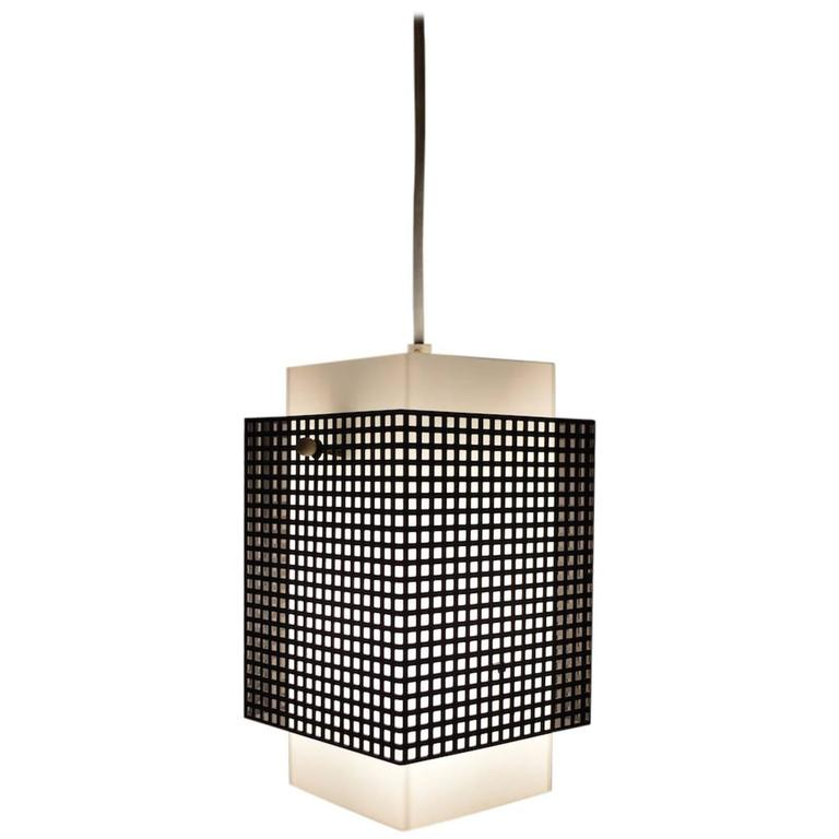 Grid Motif Squared Black and White Pendant Chandelier For Sale