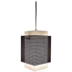 Grid Motif Squared Black and White Pendant Chandelier