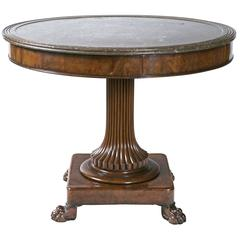Round Marble-Top Center Table