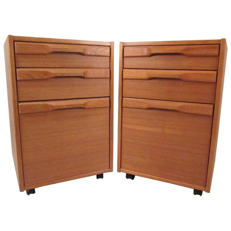 Pair of Mid-Century Danish Teak Filing Cabinets by Denka