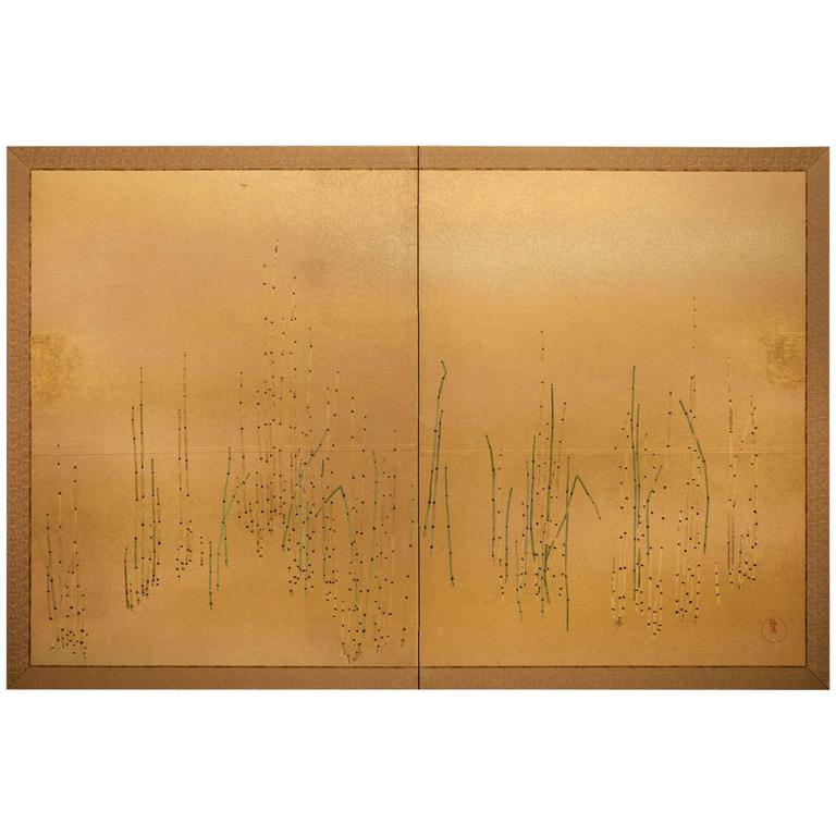 """Japanese Two-Panel Screen """"Young Bamboo"""""""