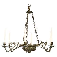 Anglo-Dutch Six-Light Brass Chandelier