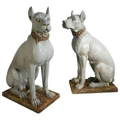 Pair of Monumental 20th Century Glazed Terra Cotta Dog Sculptures, Italy