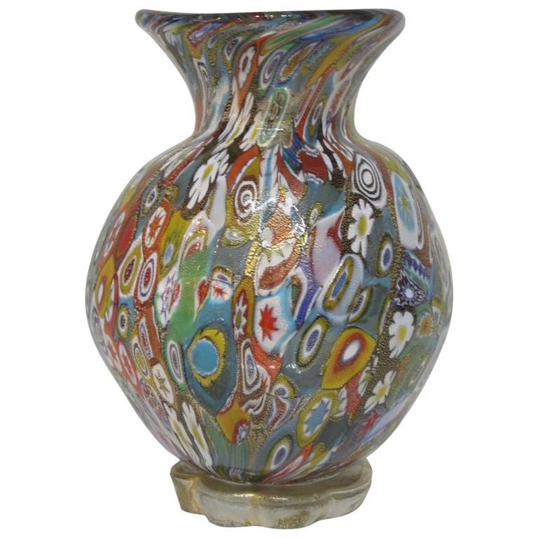 Gambaro And Poggi Millefiori Handblown Murano Glass Vase With Gold