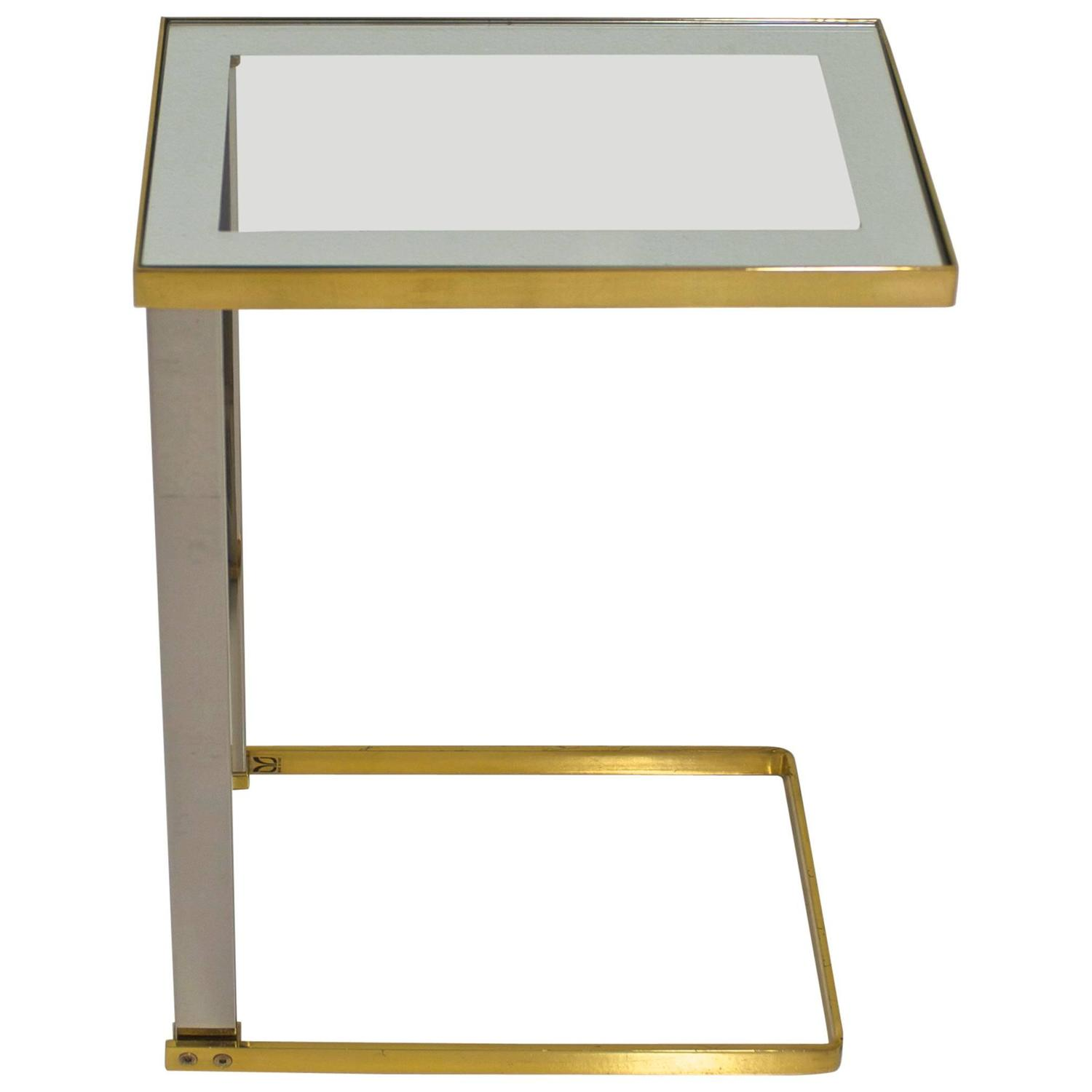 Italian Brass and Chrome Mixed Metal Sofa Side Table at 1stdibs