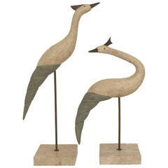 Tessellated Stone and Brass Bird Sculptures