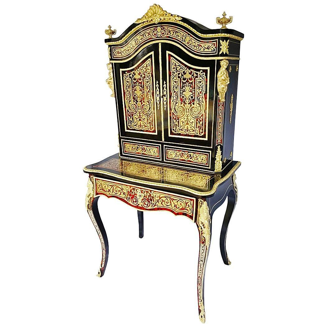 bonheur du jour in boulle marquetry napoleon iii circa. Black Bedroom Furniture Sets. Home Design Ideas