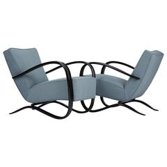 Two Streamline Lounge Chairs by Jindrich Halabala for UP Zavody in the 1930s