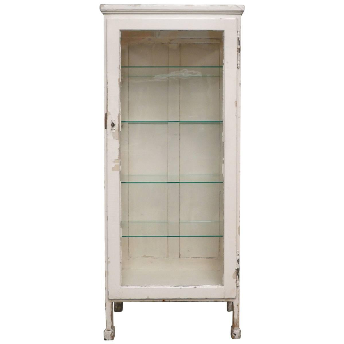 Vintage Hungarian Wood and Glass Medicine Cabinet, 1930s at 1stdibs