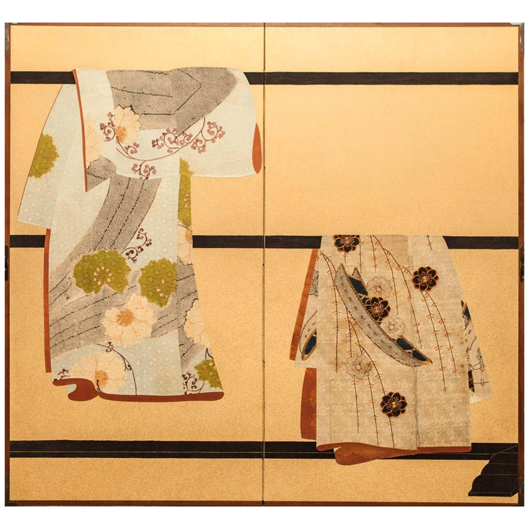 Japanese Two Panel Screen: Tagasode (Whose Sleeves?) For Sale
