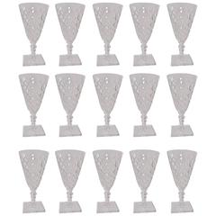 Set of 15 Cut-Glass Wines Glasses, Signed Hawkes