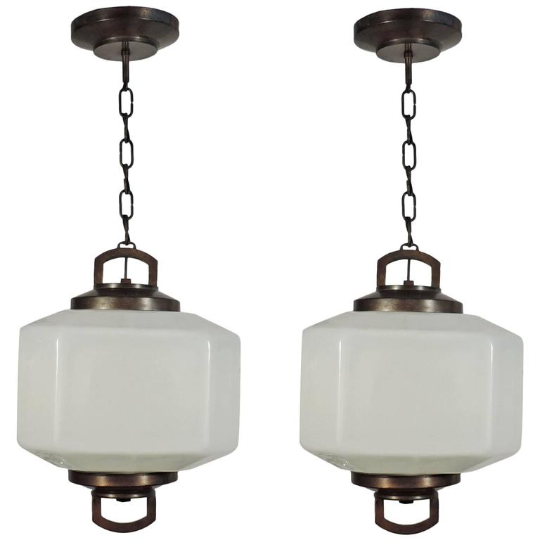 Outstanding Pair Of Ceiling Lamps Attributed To Bbpr For