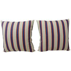 HOLIDAY SALE: Pair of Blue & Red Awning Stripes Linen Decorative Pillows