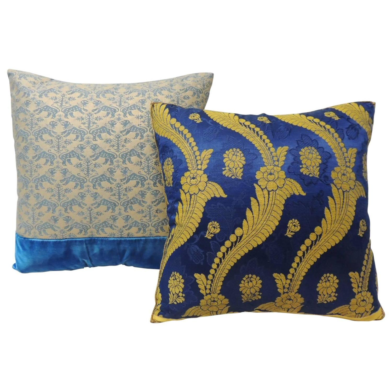 Pair of Royal Blue Decorative Pillows For Sale at 1stdibs
