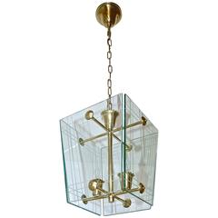 Italian Fontana Arte Style Hall Entry Glass Pendant