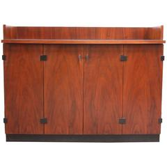 Mid-Century Modern Walnut Bar Cabinet on Casters by Kipp Stewart