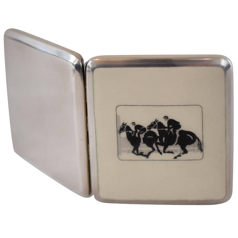Enamel Silver Tabacere by Alexander Sturm For Sale