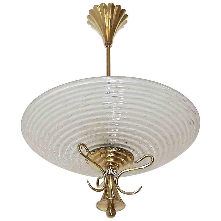 Barovier Murano Glass Brass Chandelier or Pendant  For Sale