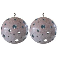 Pair of Large-Scale Ceramic Ball Globe Pendant Chandeliers