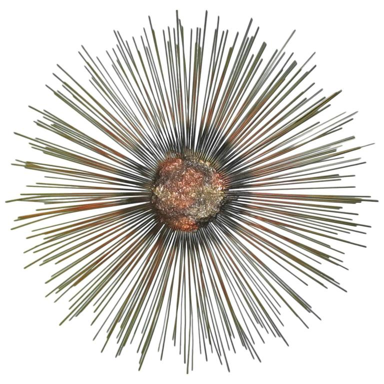 C Jere Starburst Sunburst Mixed Metals Brass Copper Brutalist Wall Sculpture For Sale