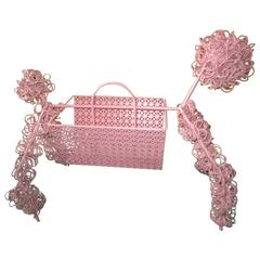 Fun Whimsical 1950s Pink Poodle Magazine Rack