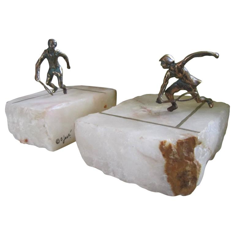 Whimsical Pair of Curtis Jere Brass Onyx Tennis Player Bookends, Mid-Century