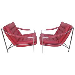 Lovely Pair of Milo Baughman style Scoop Chrome Lounge Chairs