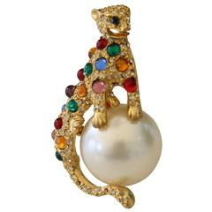 Panther Atop Cabochon Pearl Brooch After Cartier Model for Duchess of Windsor