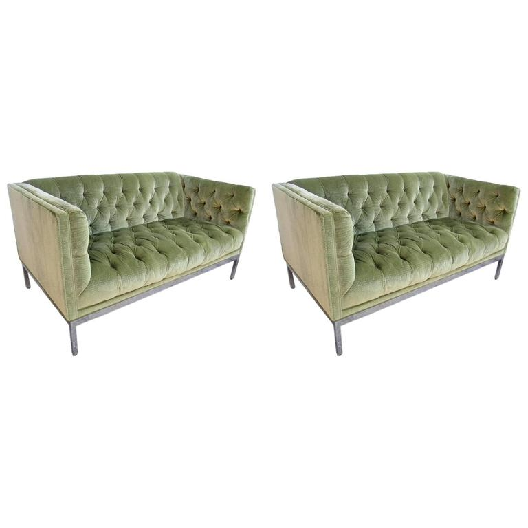 Pair of Chrome Framed Loveseats in the Style of Milo Baughman