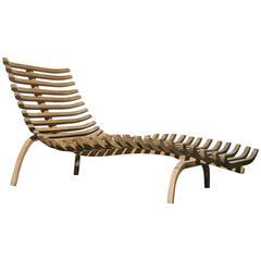 Sculptural Teak Chaise Lounge