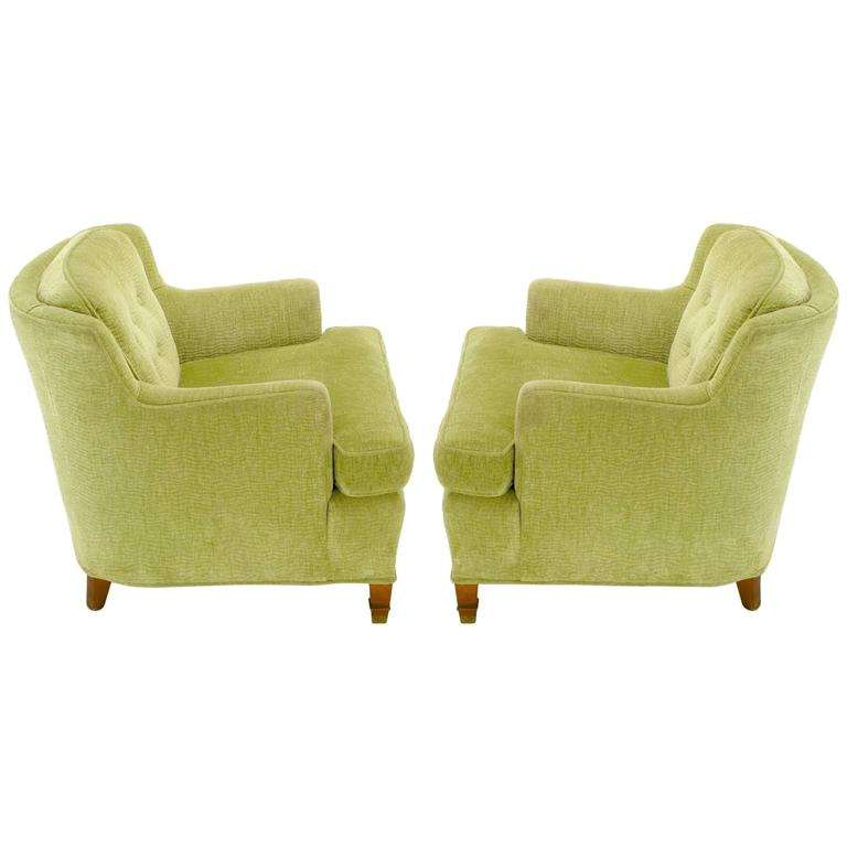 Pair of Pistachio Green Chenille Button-Tufted Low Barrel Back Wing Chairs