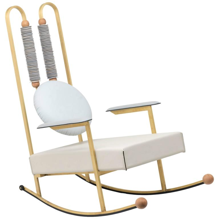 Rulla Leather & Brass Rocking Chair by Mario Milana Handcrafted in Italy For Sale